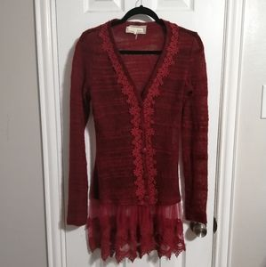 A'reve red skirted tunic lace trim cardigan